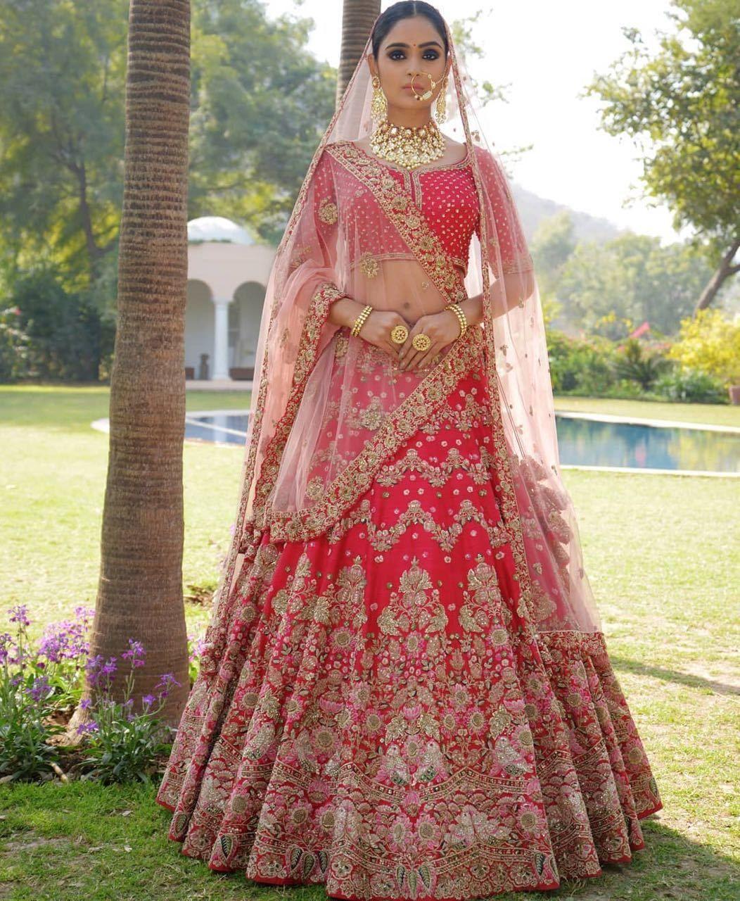 bef20b343 INDIAN BRIDAL TRADITIONAL CULTURAL WEDDING RED XXL BANARASI SILK LEHENGA  CHOLI