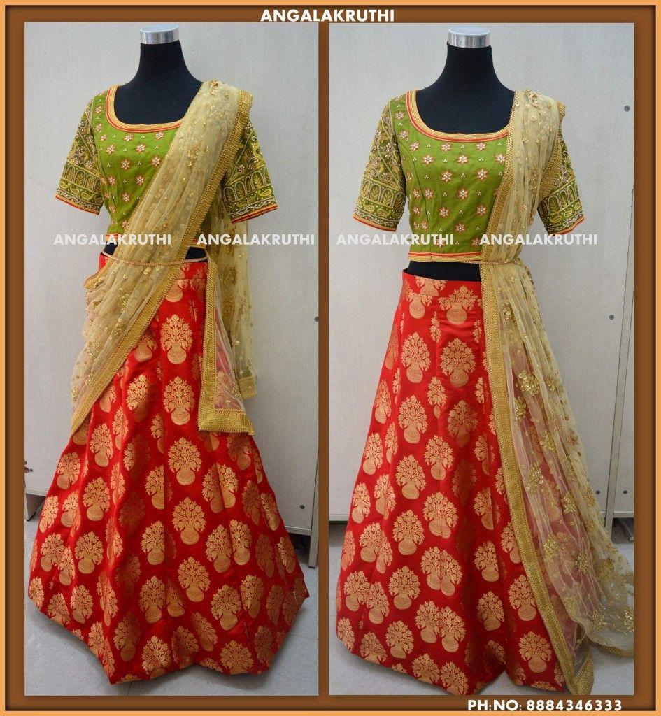 Lehenga Desings By Angalakruthi Boutique Bangalore Watsapp 8884346333 Half Saree Designs Mother Daughter Dress Saree Designs