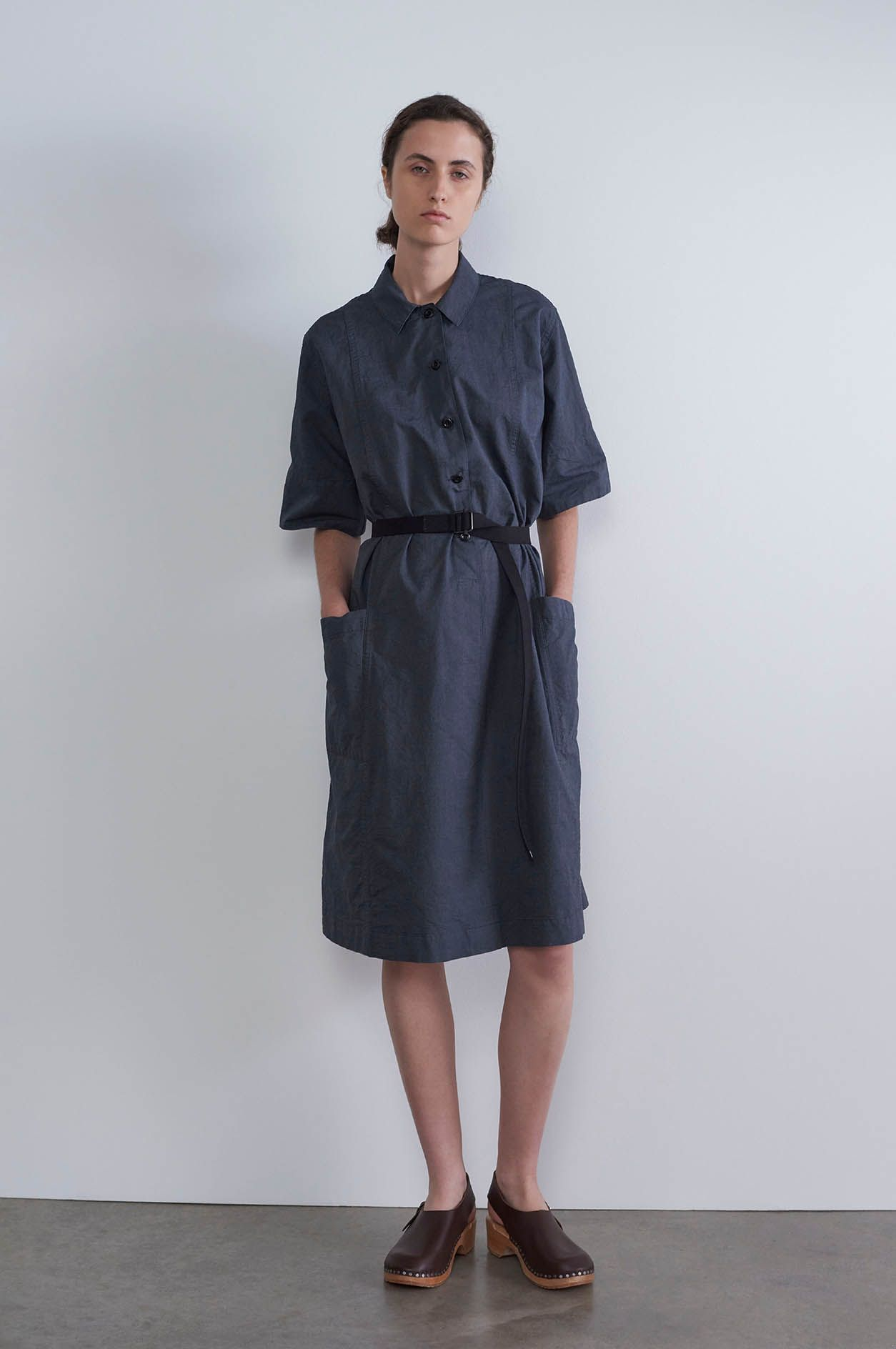 7a07c31f179 Spring Summer 2019 - Navy cotton end on end flared shirt dress