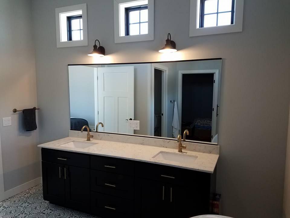 master bath vanity mirror with cutout for outlet custom on custom bathroom vanity mirrors id=33924