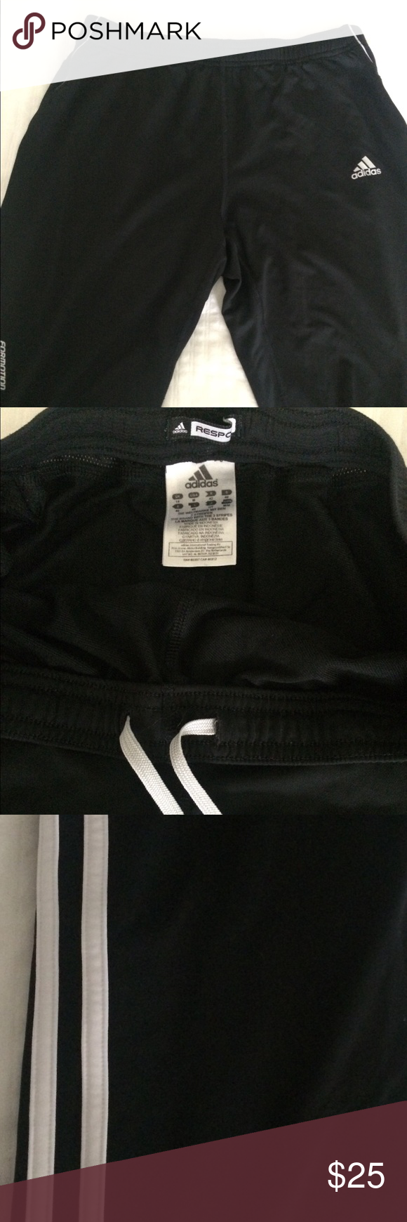 aaf59925709be3 Adidas Response Formotion black track pants Size medium in perfect  condition. Light weight, cool material with a back pocket, elastic waist  with drawstrings ...