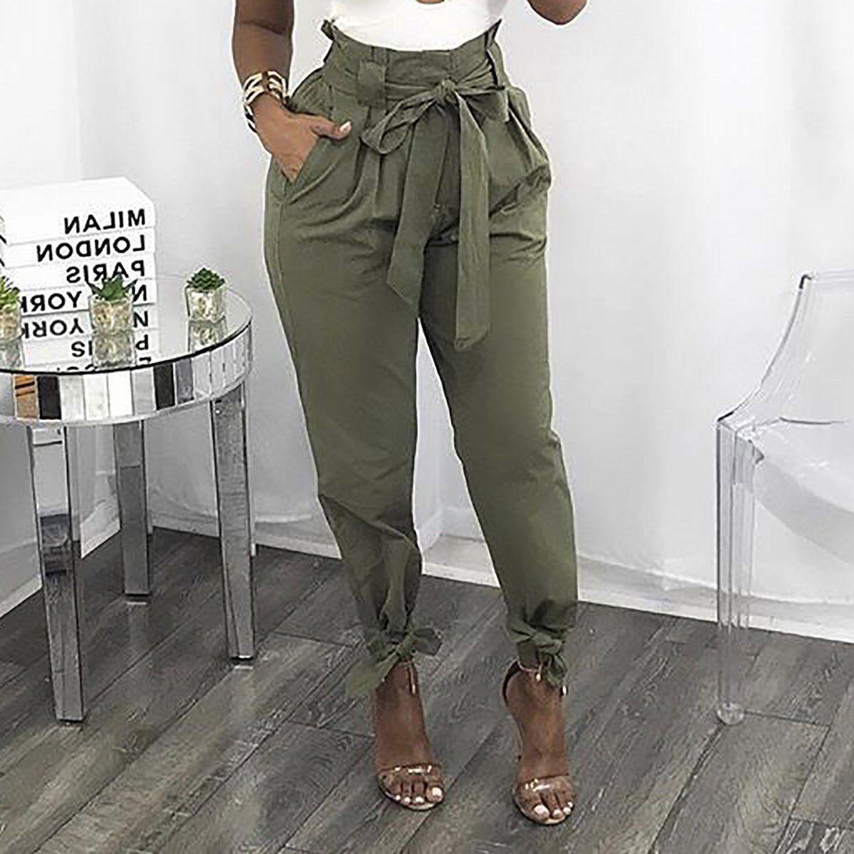 Fashion bandage high waist loose wild casual pants