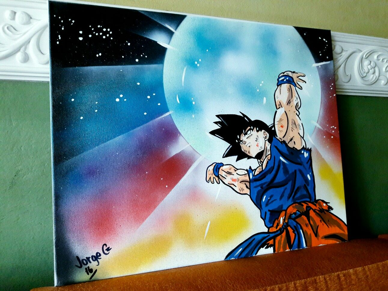 Genkidama Spirit Bomb Goku Acrylic And Spray Painting