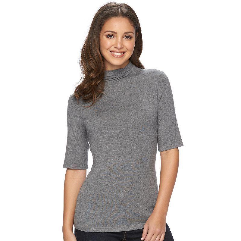 Petite Apt. 9® Essential Mockneck Top, Women's, Size: Xs Petite, Dark Grey