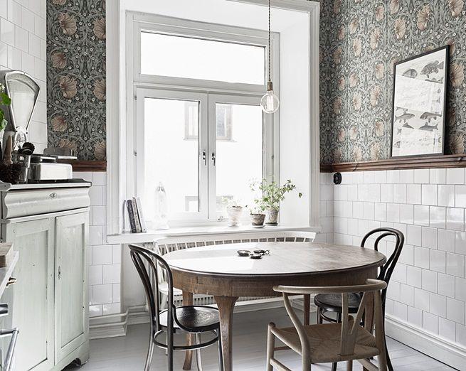 Skandynawska Kuchnia Z Tapeta Vintage Kitchen Interior Kitchen Design Scandinavian Kitchen
