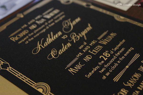 Gold Foil Black Paper Invitation Google Search Wedding