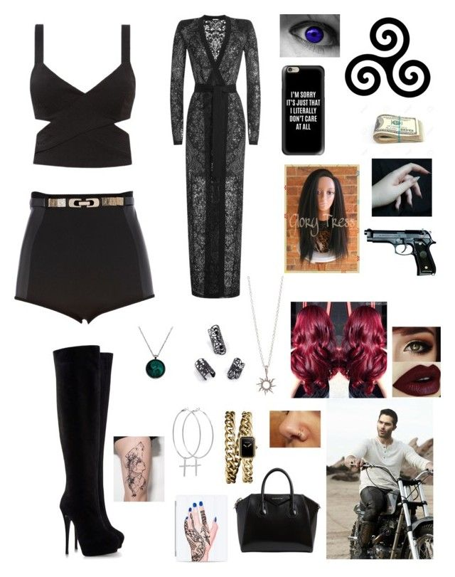 """Sexy thing"" by lumsdenk on Polyvore featuring Casetify, Balmain, River Island, Giuseppe Zanotti, Givenchy, Chanel and Kiki Minchin"
