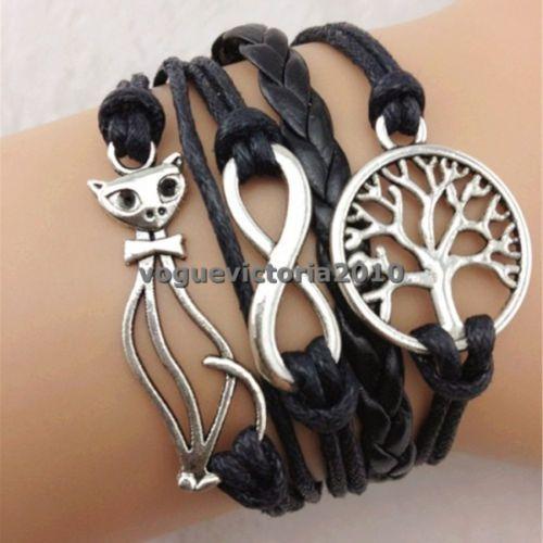 1Pc-Vintage-Infinite-Multi-circle-Pattern-Cute-Cat-Tree-Friendship-Bracelet