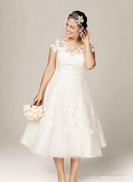 Plus Size Tea Length Lace Beach Bridal Gown Cap Sleeve Wedding Dress