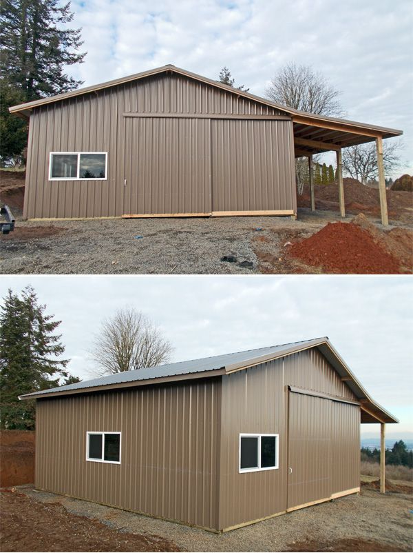 30 X 30 X 12 Agricultural Building With A Lean Too Slider Door And 2 6 X 3 Windows Dessert Brown Pole Buildings Shed Pole Barn Construction