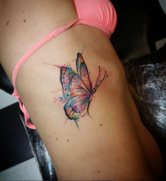7604e7b23 Butterfly on Ribcage by Butterfly Neck Tattoo, Colorful Butterfly Tattoo, Butterfly  Tattoos For Women