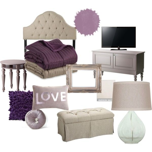 neutral bedroom with a splash of purple