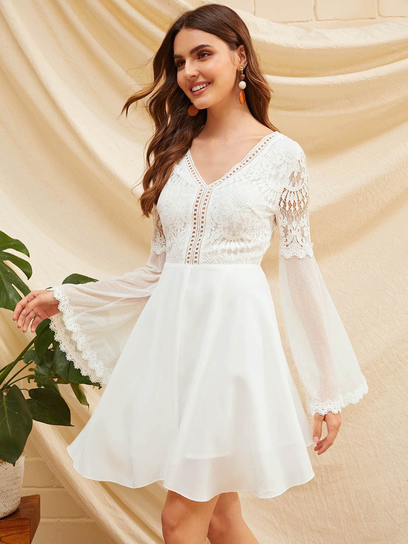 Knot Backless Lace Bodice Mesh Sleeve Dress Ad ,
