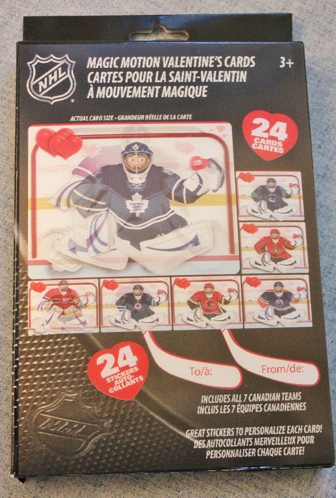 magic motion nhl candian hockey valentines cards sealed in original