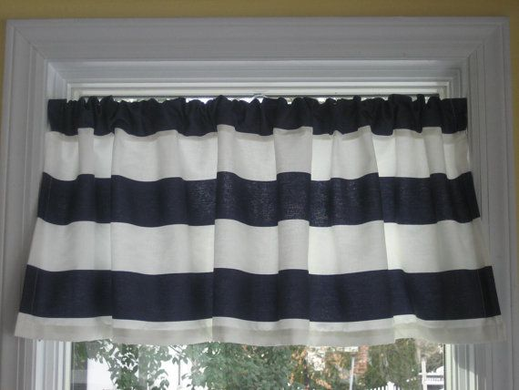 Nautical Horizontal Stripe Curtain Valance Navy Blue And White
