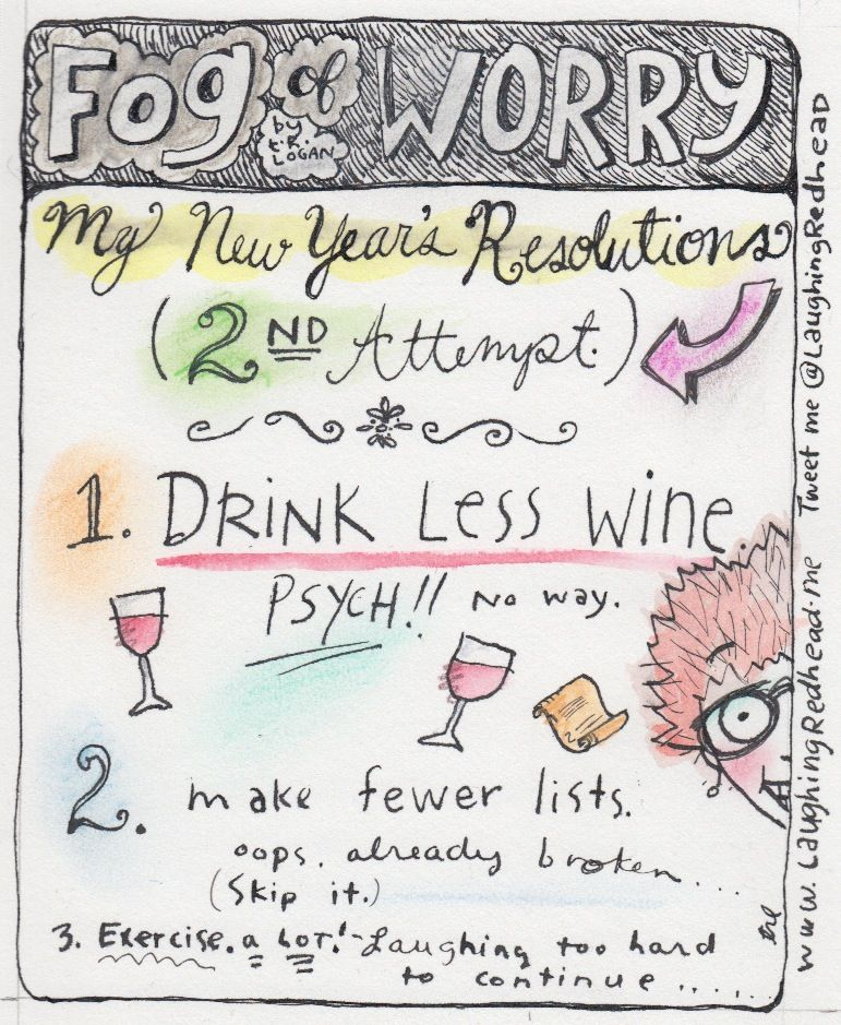New Year's, New Year's resolution, resolutions, cartoon