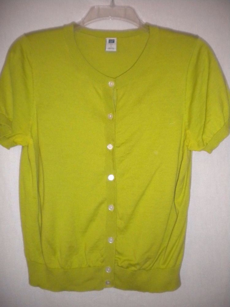 b276c4e8219 Gap Size Large Short Sleeve Lime Green Button Front Women Shrug Cardigan  Sweater  GAP  Sweater