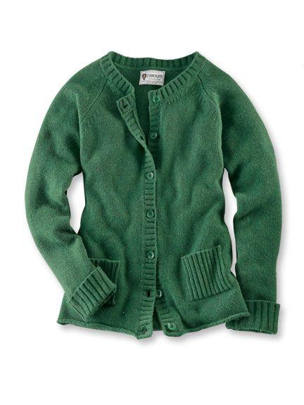 Cardigan aus feiner Hinchliffe-Wolle in Smaragdgrün ...