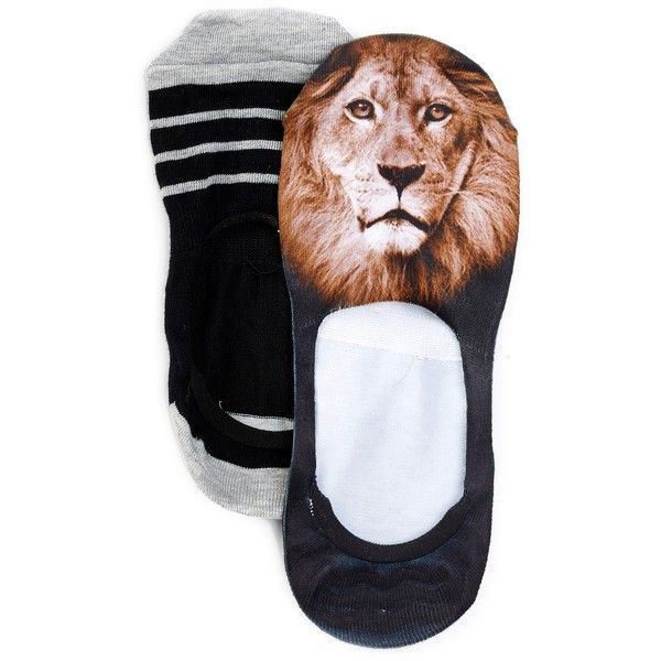 Free Press No Show Sublimation Low-Cut Sock Liners - Set of 2 ($5.97) ❤ liked on Polyvore featuring intimates, hosiery, socks, lion, patterned hosiery, low cut socks, print socks, patterned socks and liner socks
