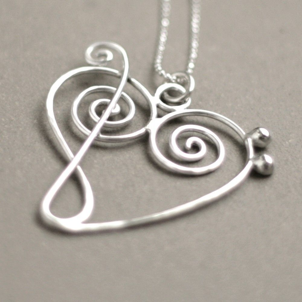 Music heart necklace treble clef meets bass clef music jewelry in music heart necklace treble clef meets bass clef music jewelry in sterling silver aloadofball