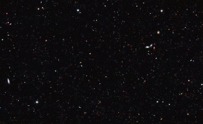 "Image credit: NASA, ESA/Hubble. ""Great Observatories Origins Deep Survey South field""."