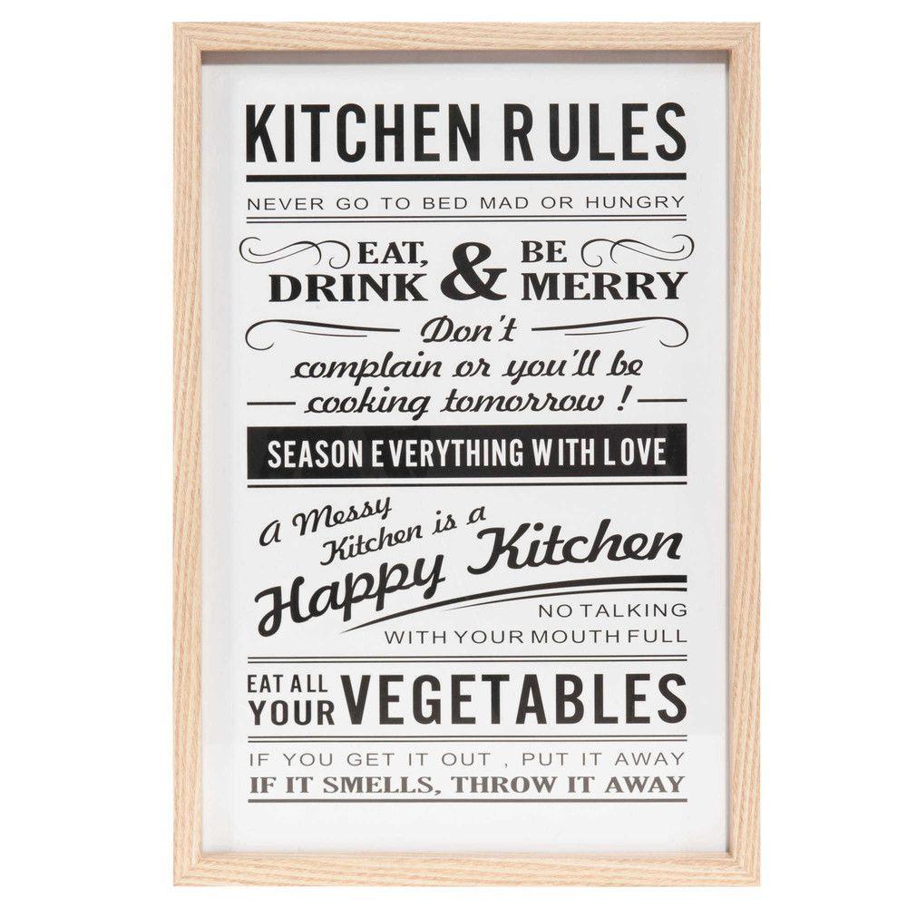 Tableau En Bois 30 X 40 Cm Kitchen Rules Maisons Du Monde