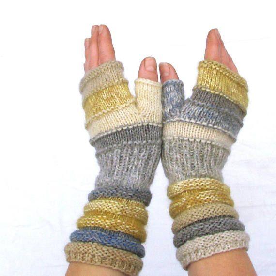 Photo of Outlander mögliche Geschenk-Idee für ihre Hölle gelb grau betroffen fingerlose Handschuhe unübertroffen Hand betroffen gestreiftarm Armwärmer mit Upcycled Wolle