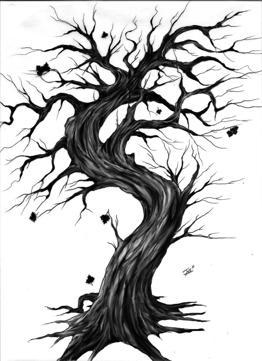 Gothic Designs black and grey gothic tree without leaves tattoo designdarth