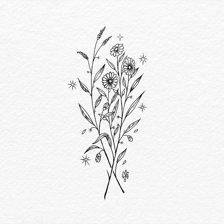 Flowers By The Crescent Moon Ink On Paper Available Tattoo Flash Sorry About The Drawing Feeds Goes Slow Lately Wildflower Tattoo Tattoos Flower Doodles
