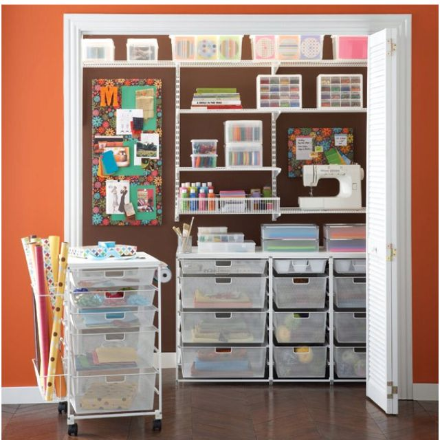 Sewing Room Gift Wrapping Room: Rolling Cart Below Desk. Roll Out To Use And Take Office