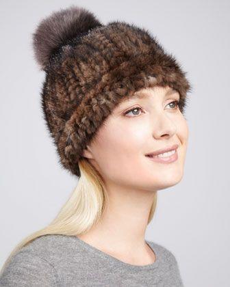 59ae1e63a Adrienne Landau Fox Fur-Pompom Knitted Mink & Fox Fur Hat ...