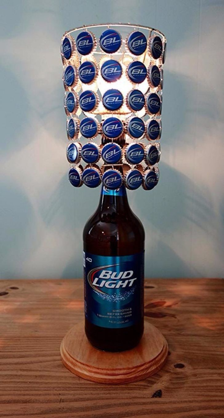 8e9ef6350d4 This unique and functional table lamp of bud light bottle 40 oz which  paired with bottle cap lamp shade would be a great gift or addition to any  room