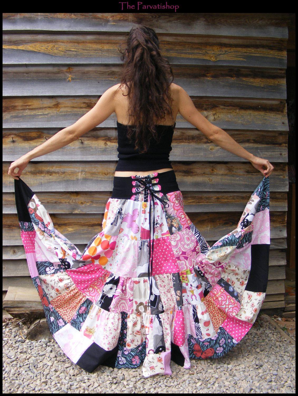 Patchwork Gitane Maxi Dress Upcycled Hippie Jupe Boheme Skirt Boho XkiPZTOu