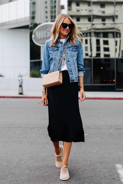 Fashion Jackson Wearing Denim Jacket Graphic Tshirt Black Slip Midi Skirt Tan Sneakers Tan Chanel Handbag Fashion Jackson Everyday Outfits Fashion [ 1500 x 1000 Pixel ]