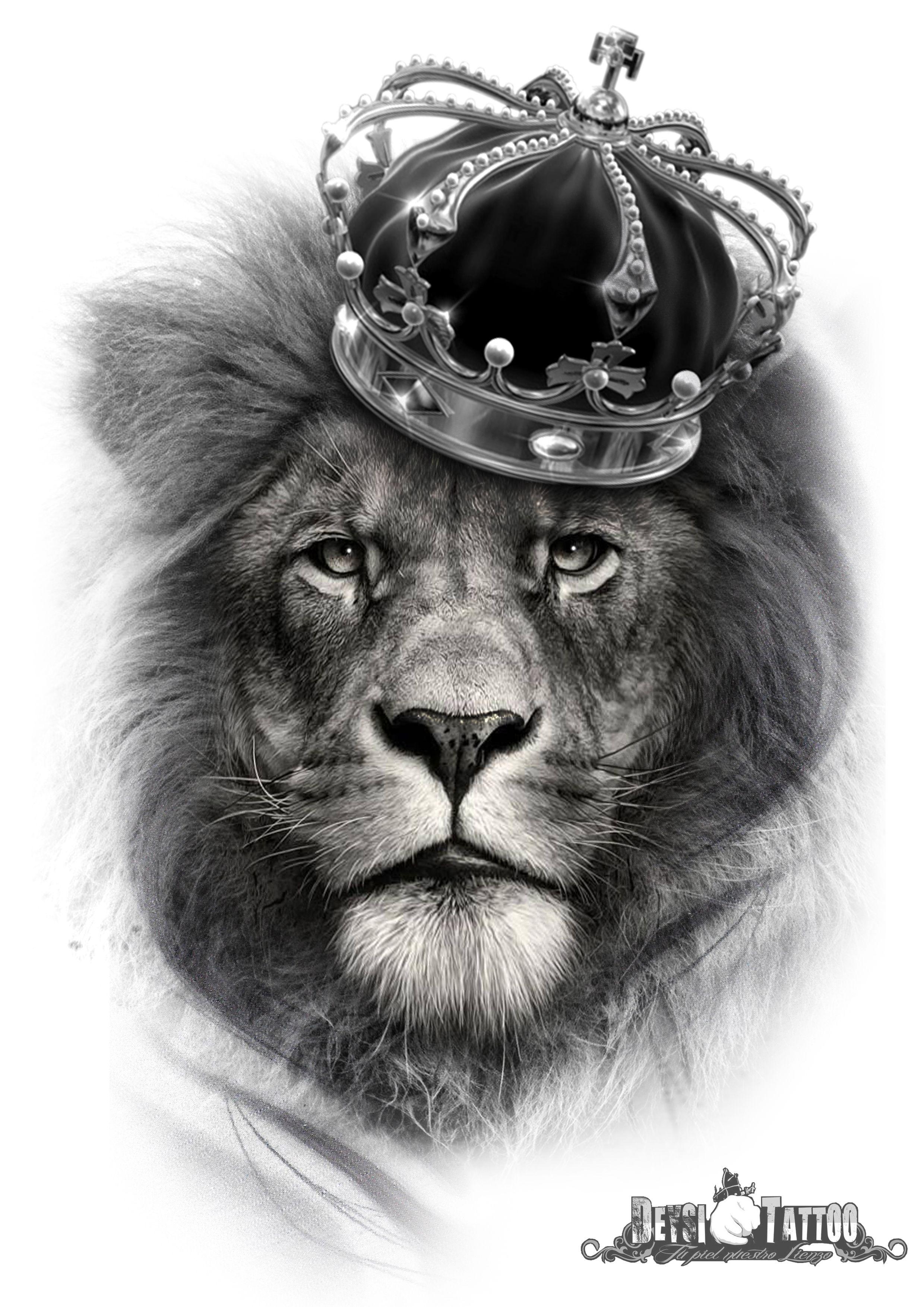 León Con Corona En La Cabeza Queda Claro Que él Es El Rey
