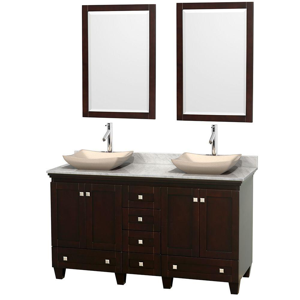 Wyndham Collection Acclaim 60 in. W Double Vanity in Espresso with Marble Vanity Top in Carrara White, Ivory Sinks and 2 Mirrors
