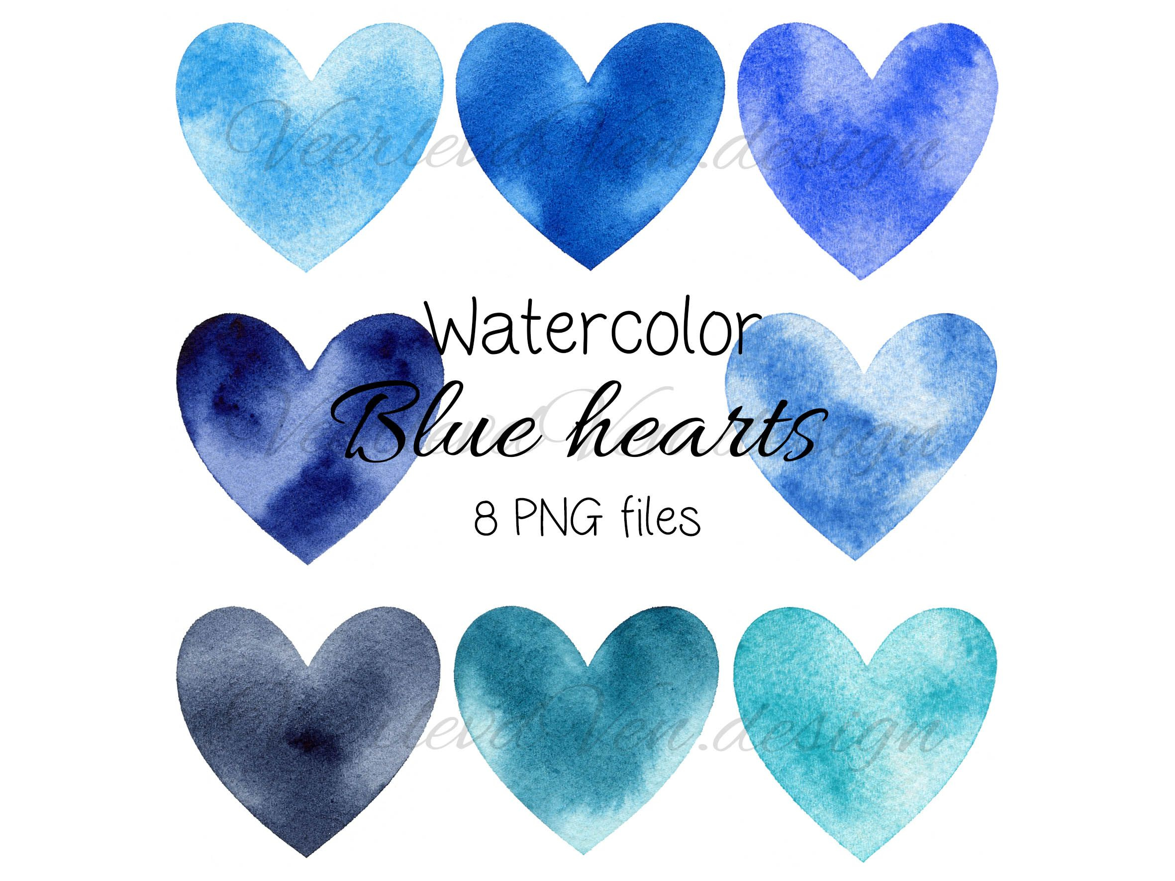 Watercolor Blue Hearts Clipart Png File Digital Download Etsy In 2021 Clip Art Digital Download Etsy Watercolor Heart