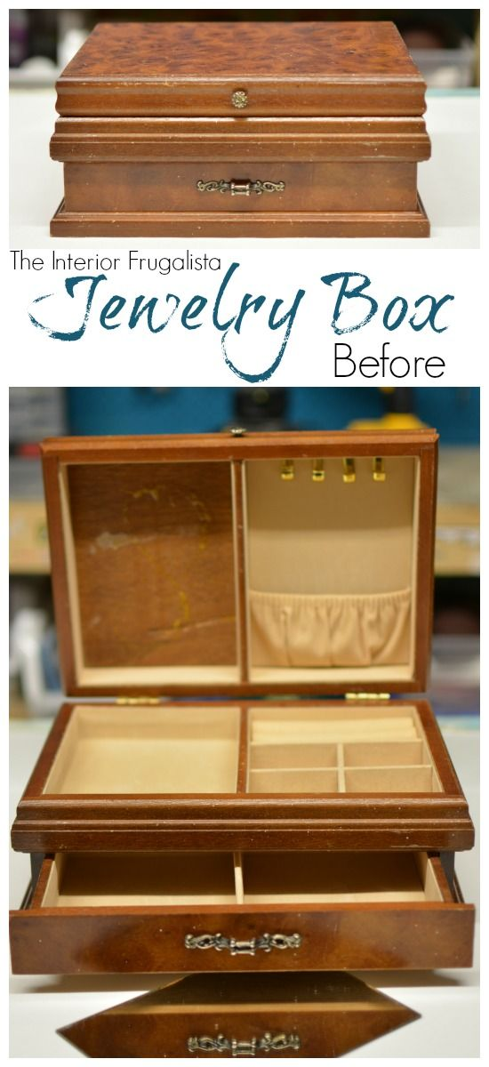 A Thrift Store Jewelry Box Before Being Transformed Into A Pretty Trinket  Or Remote Control Storage Box