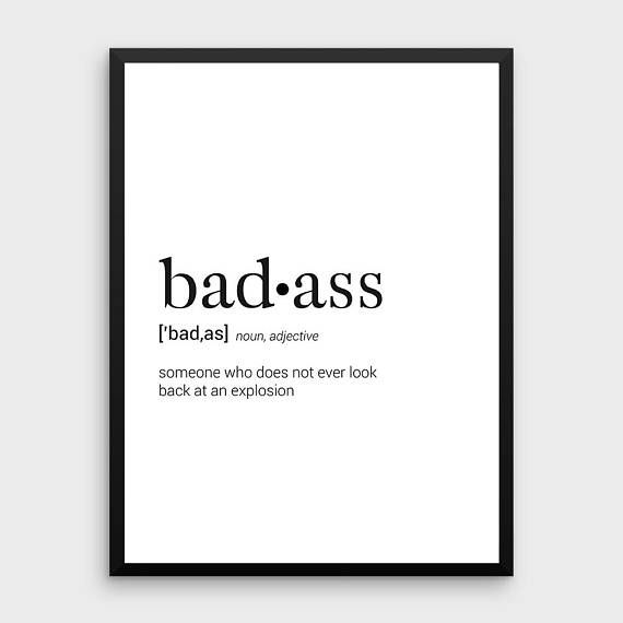Badass Definition | Dictionary Art Print, Dictionary Art, Office Decor,Minimalist Poster, Funny Defi
