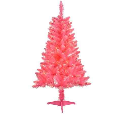 4' Pre-Lit Pink Tinsel Artificial Christmas Tree, Clear Lights ...