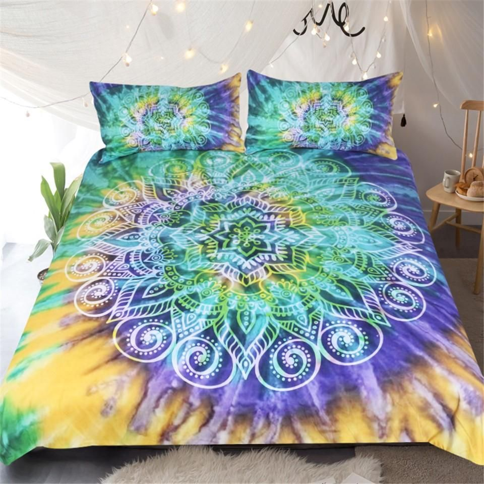 30109f779cf7 Lotus Flower Tie Dye Bedding Sets 3 Piece Bohemian Mandala Duvet Cover  Yellow Purple Green Tye