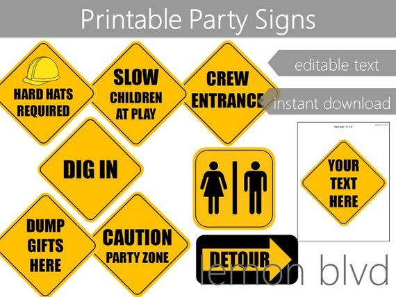Construction Party Signs Construction Instant Digital