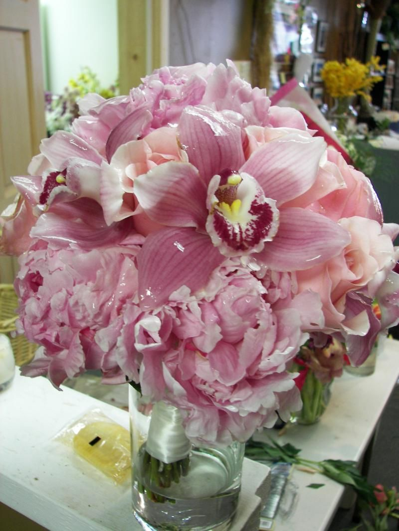 Pink Cymbidium Orchids, Titanic Roses, and Pink Peony