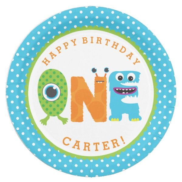 Monster First Birthday Paper Plates  sc 1 st  Pinterest & Monster First Birthday Paper Plates | Little Monster Birthday Party ...