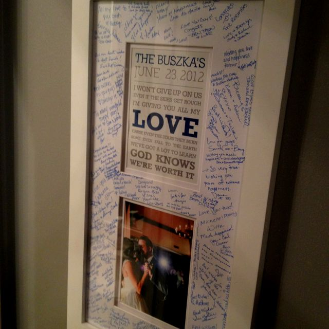 Song Lyrics & Photo From First Dance. Had Guests Sign The