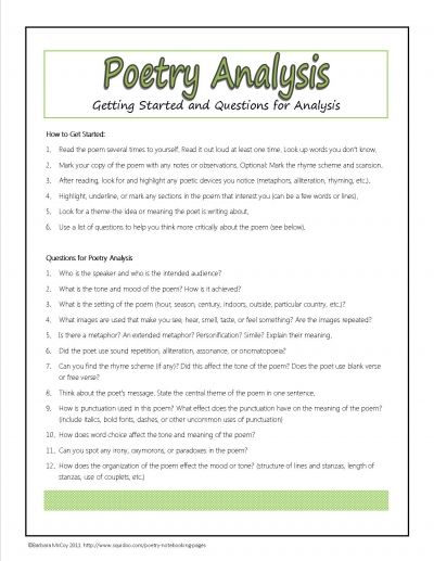 Poetry Analysis Questions Plus Many Other Free Printables For