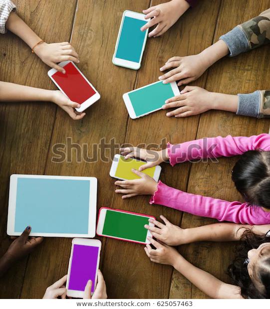 Group Children Hands Holding Blank Digital Stock Photo