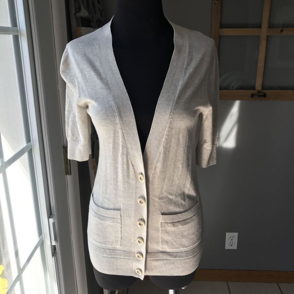 Banana Republic Beige Cotton Rayon Short Sleeve Thin Knit Cardigan ...