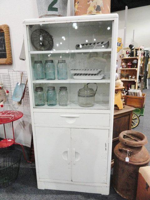 Vintage Cabinet Metal Medical White 3 Shelves Glass Sliding Doors Medical Furniture Vintage Cabinets Upstairs Bathrooms