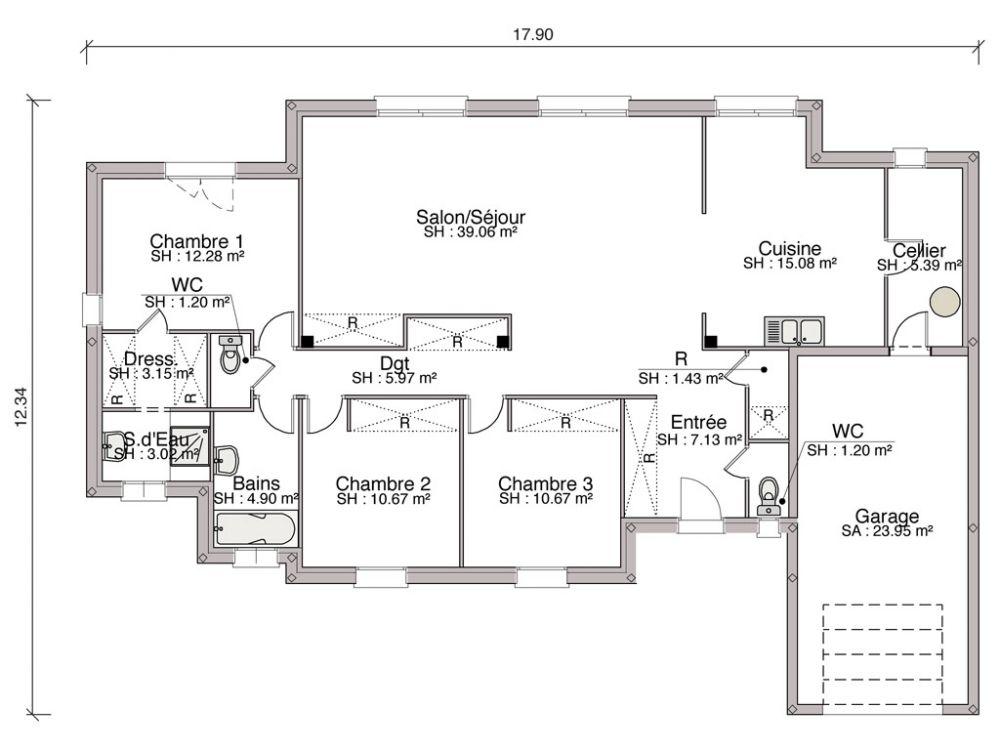 Construction du0027une maison contemporaine de 12115 m2 avec 3 chambres - construire sa maison en ligne gratuitement